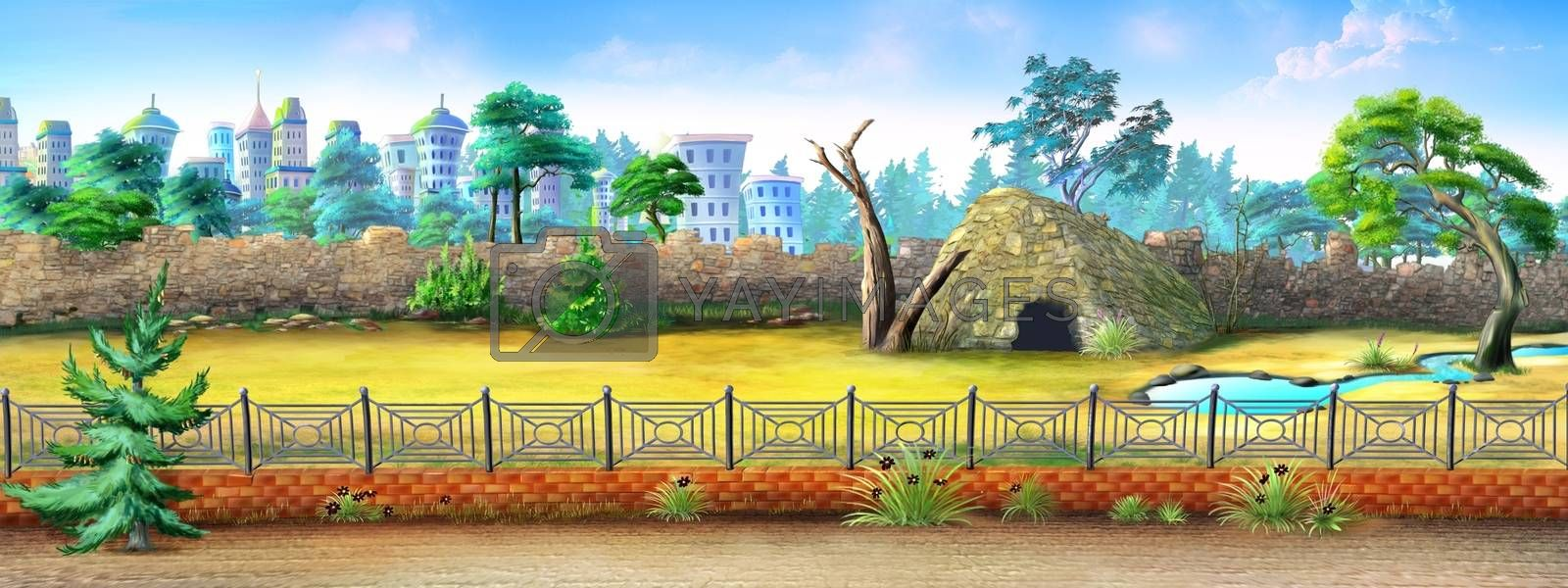 Digital painting of the City Zoo with fence, trees and small animal house.