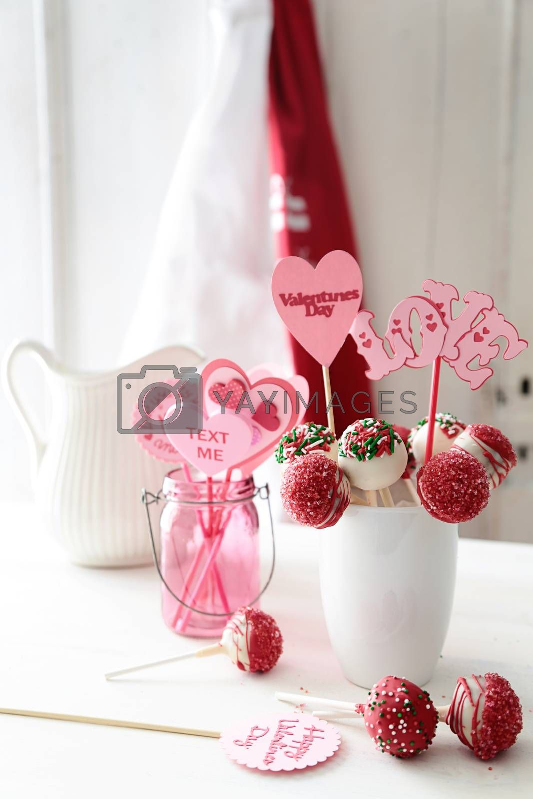 Closeup of cake pops for Valentine's Day by Sandralise