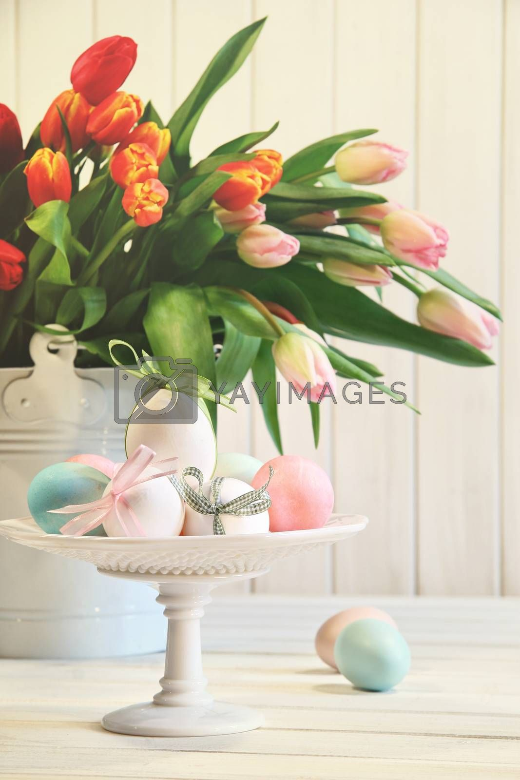 Colored eggs with bows with tulips in background