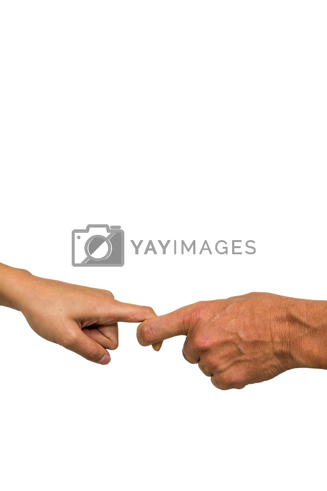 Cropped hands of people holding fingers against white background
