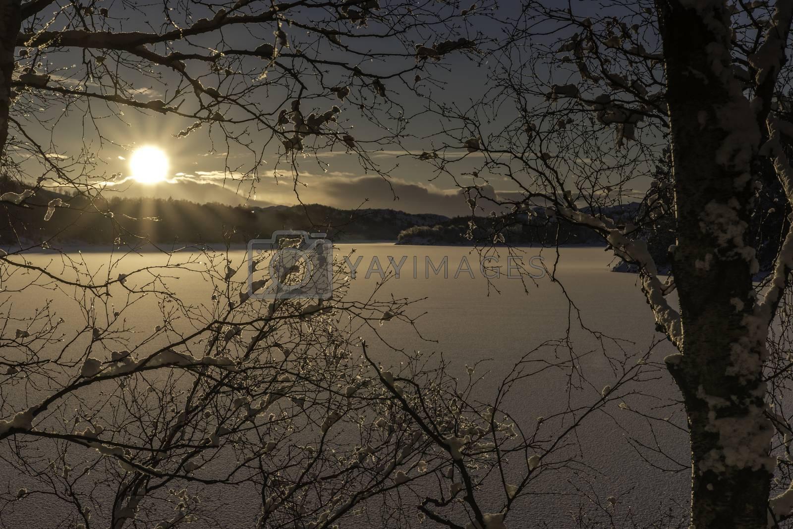 Solnedgang over Eiavatnet i Rogaland by vidar.fredheim@dabb.no