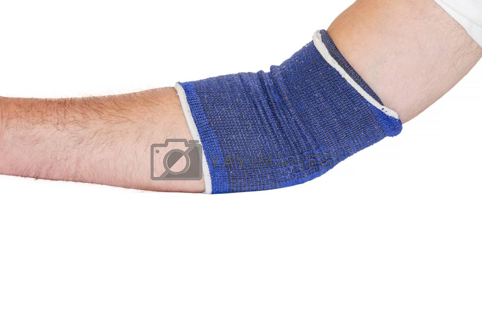 Injured male hand wrapped with bandage, isolated against white background.