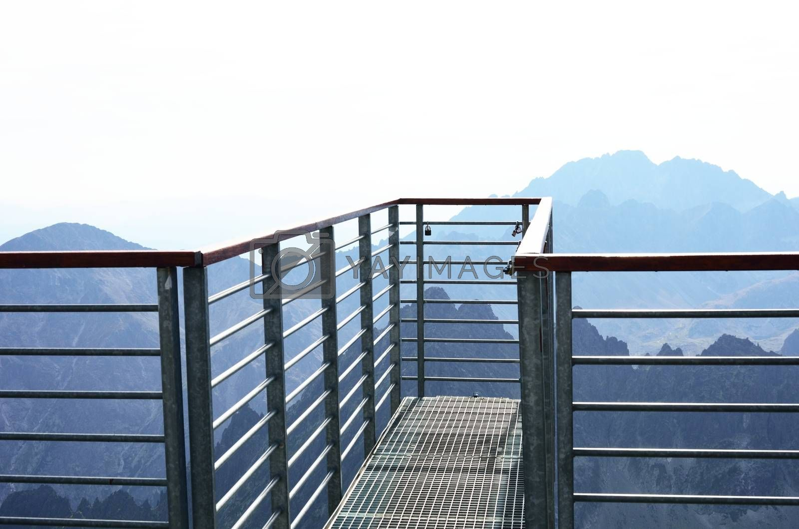 Walkway projecting from mountain top