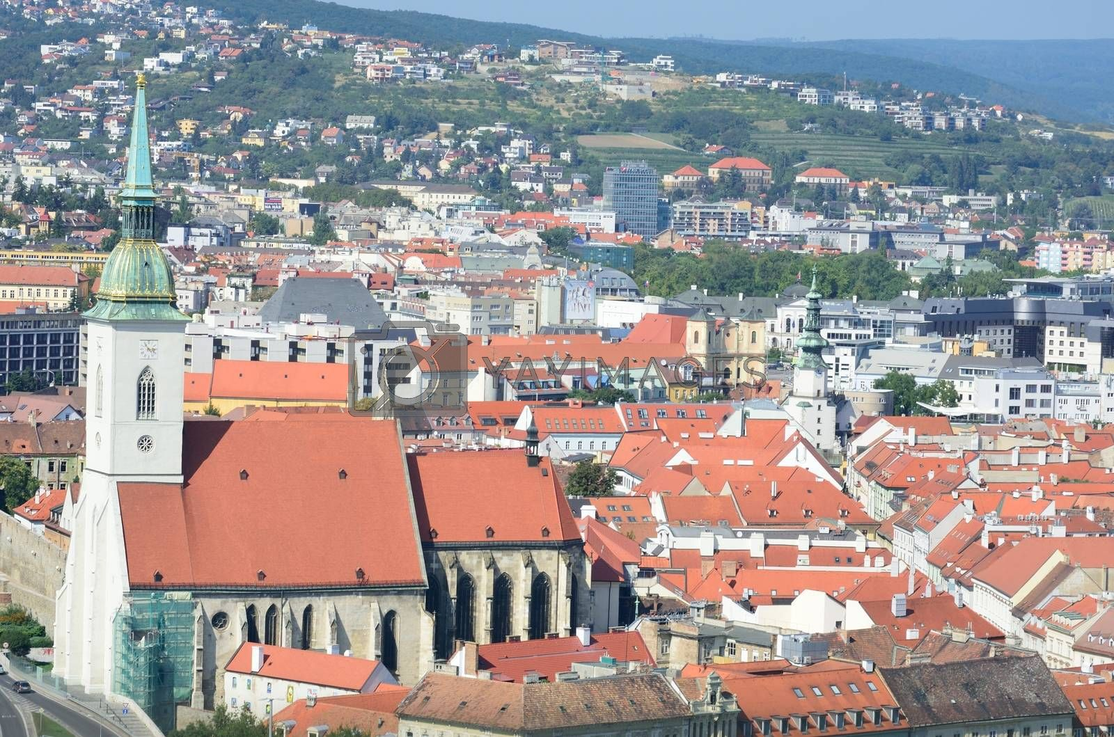 Aerial view of Bratislava Slovakia with church of St Martin