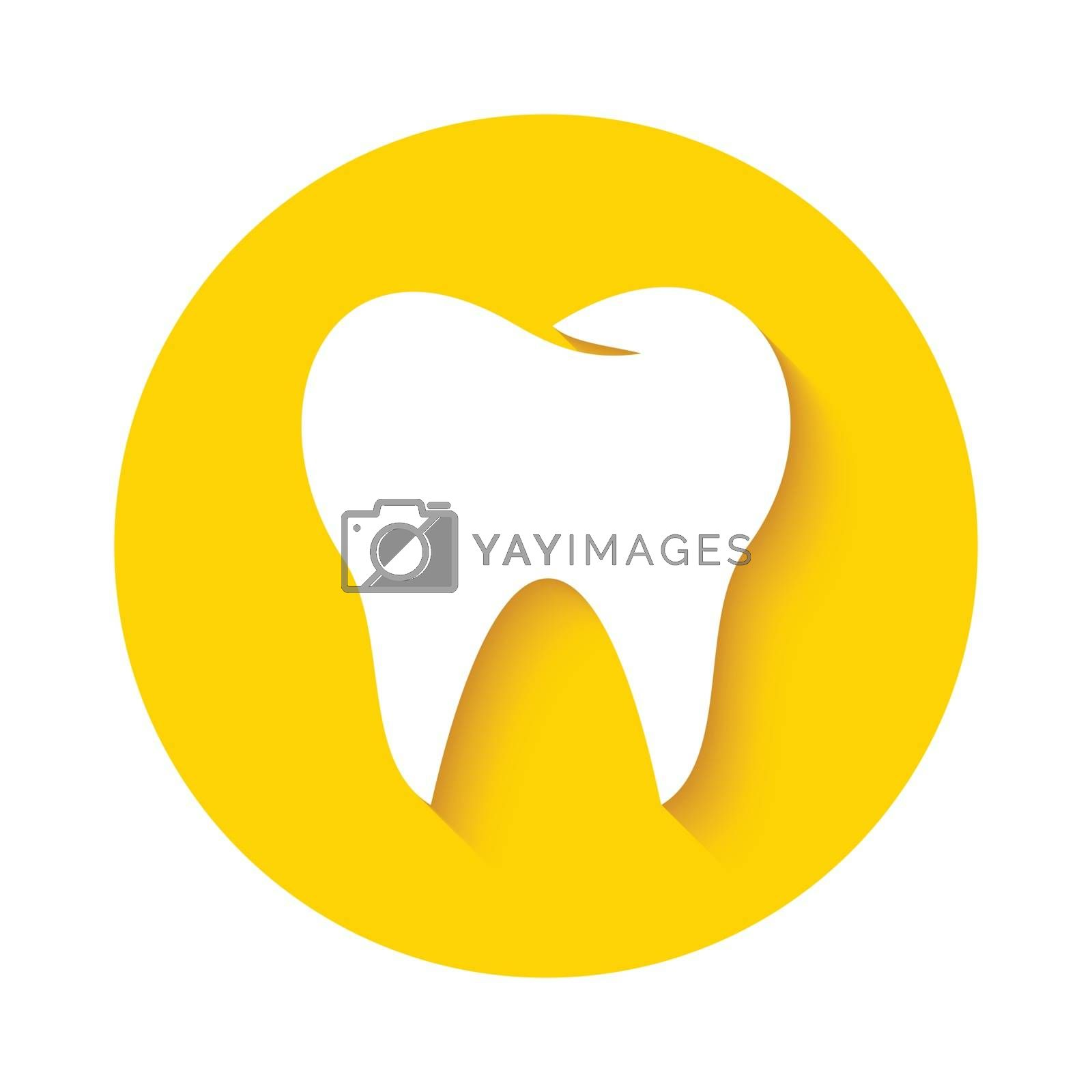 Tooth icon or sign isolated on yellow background