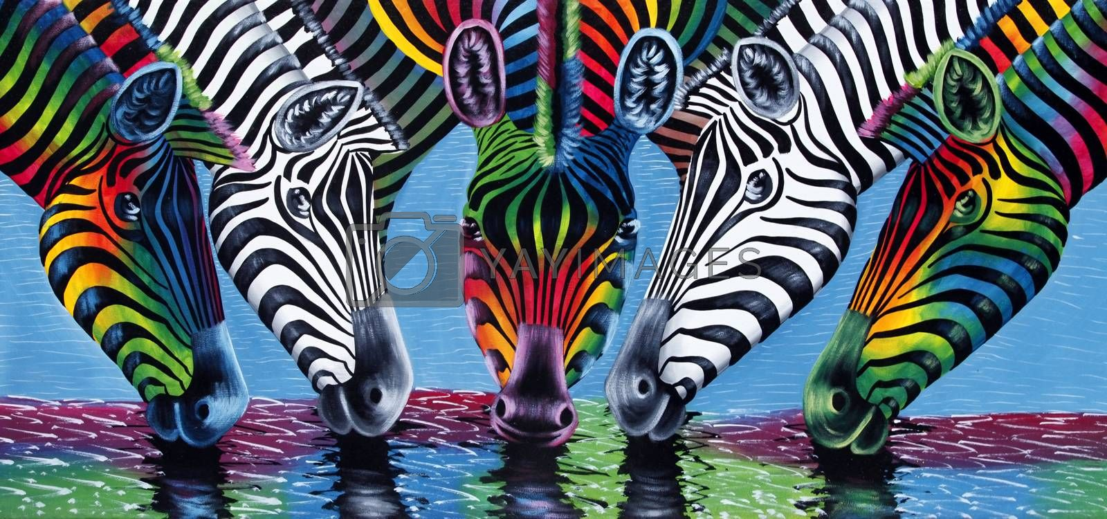 Painting of zebras  by friday