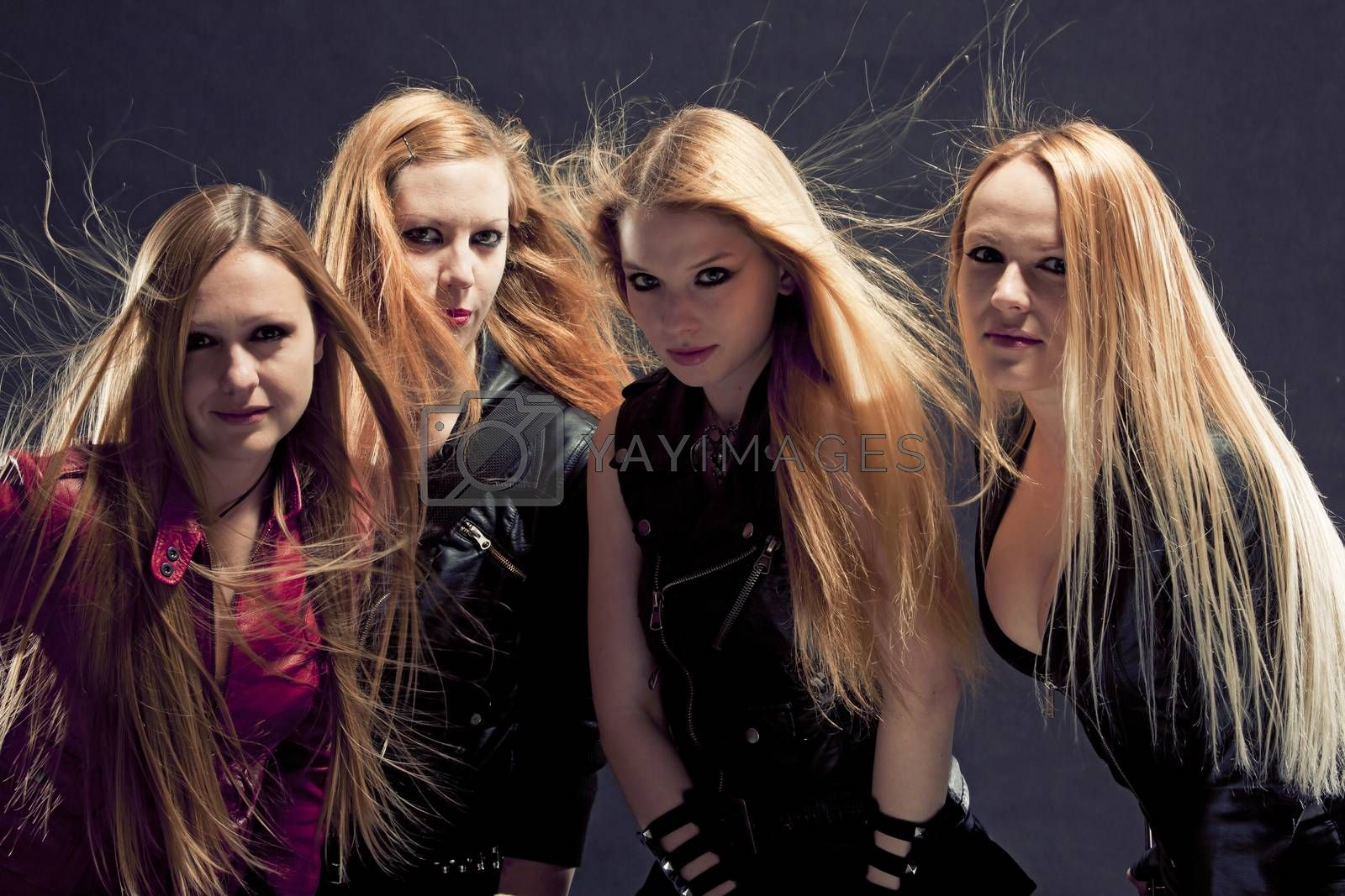 Women in leather / rock and roll band