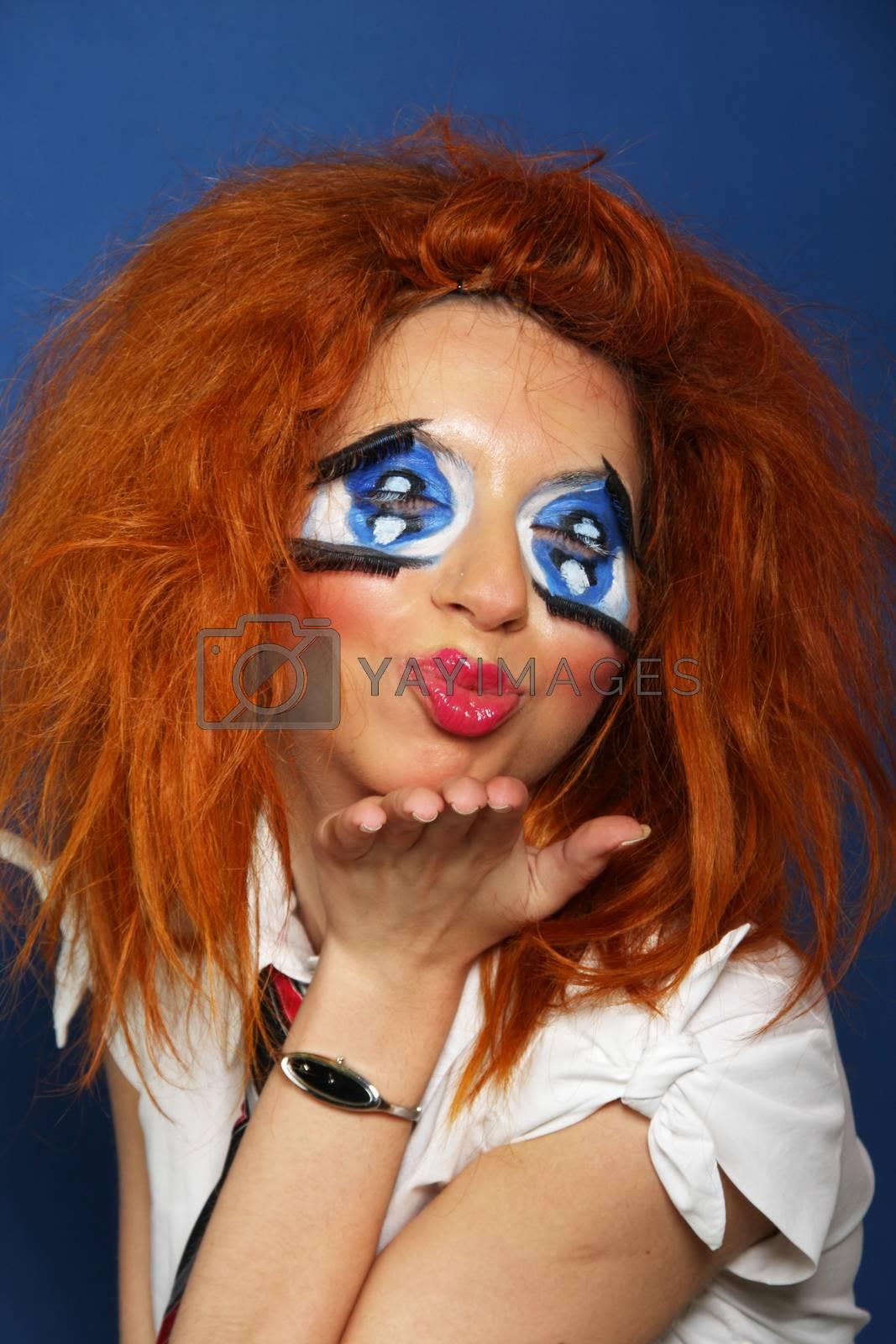 Sexy girl with strange make-up
