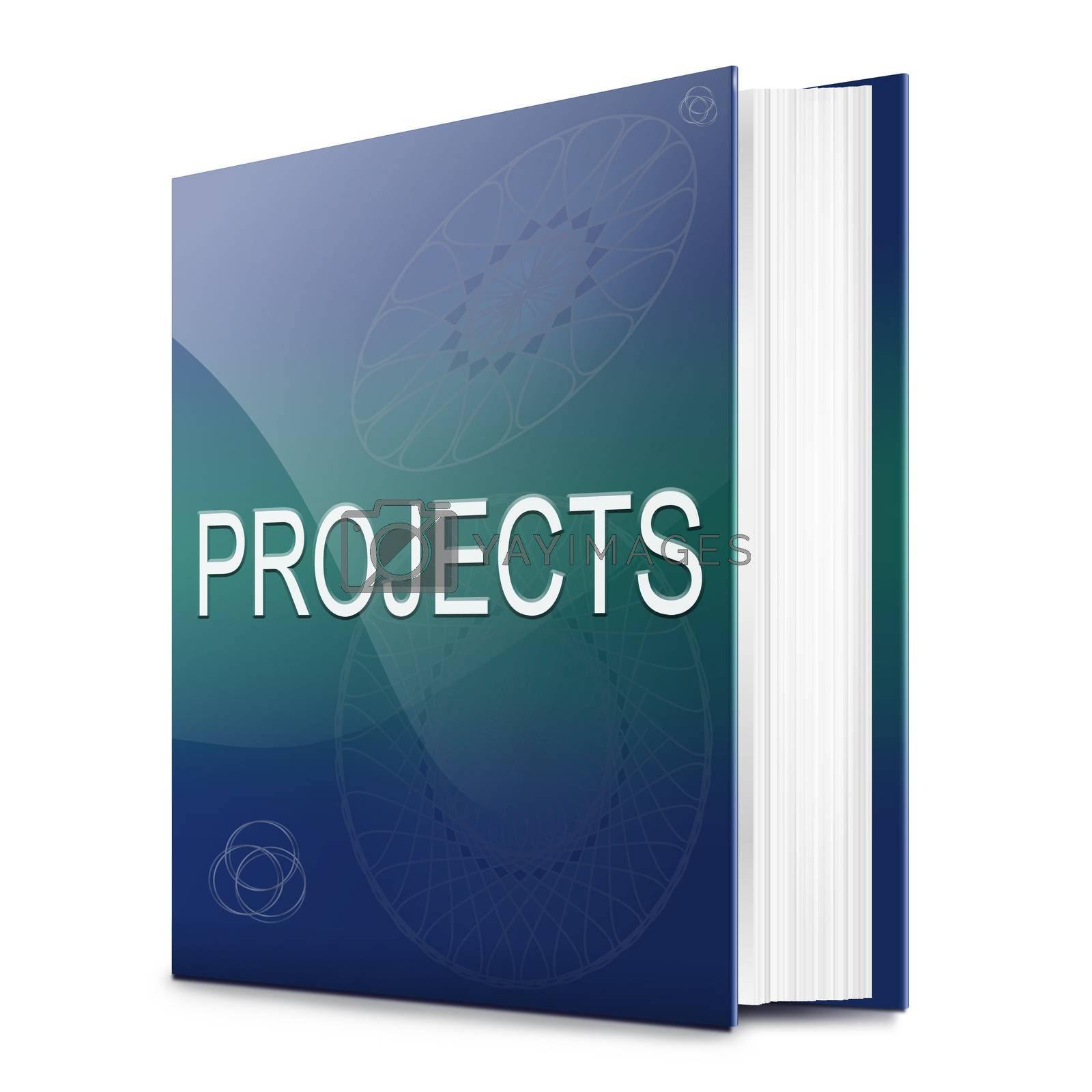 Illustration depicting a text book with a projects concept title. White background.