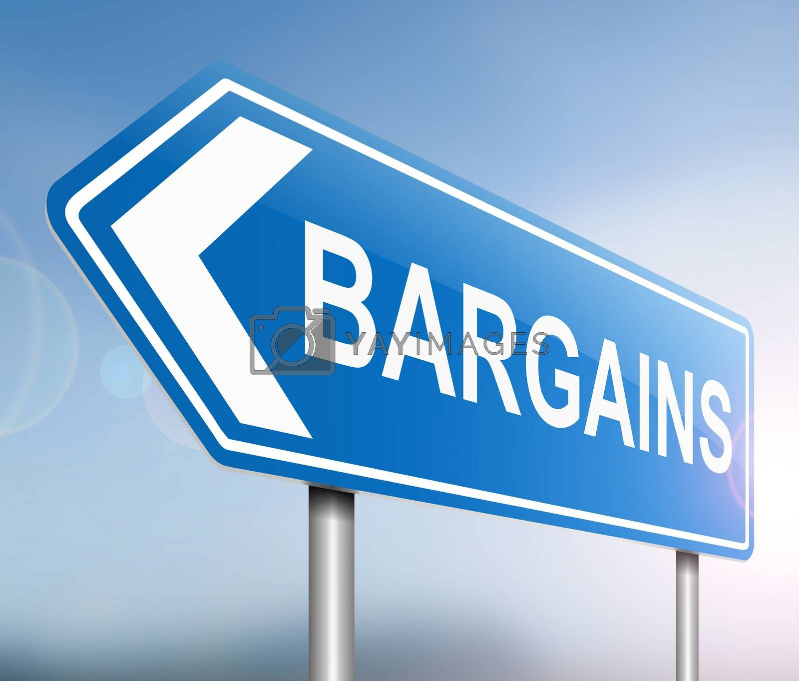 Illustration depicting a sign with a bargains concept.