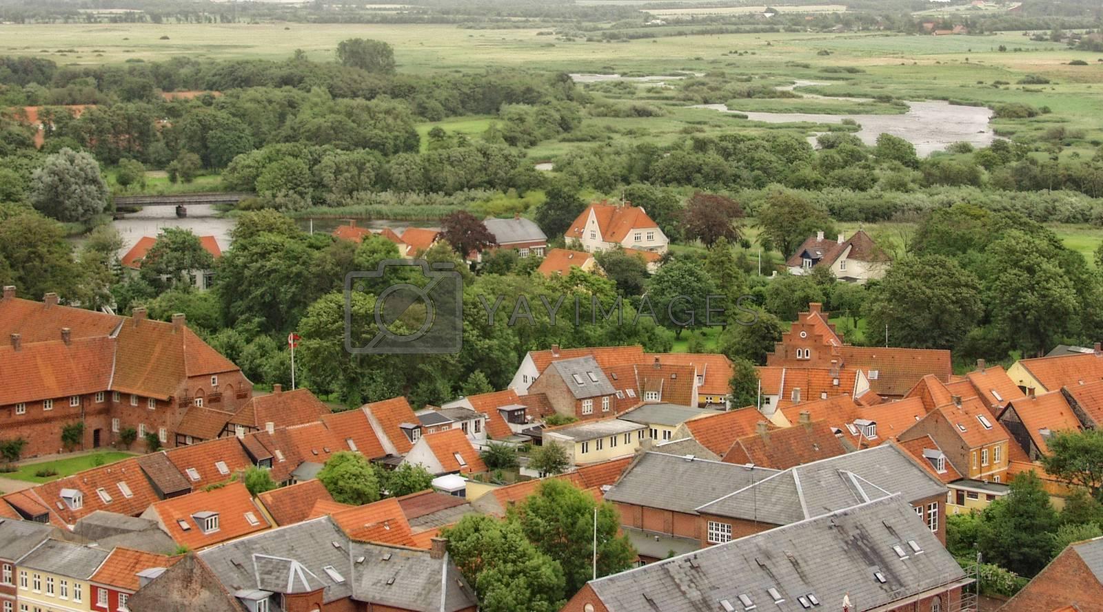 Utsikt fra tårnet i Ringkøping gamle kirke