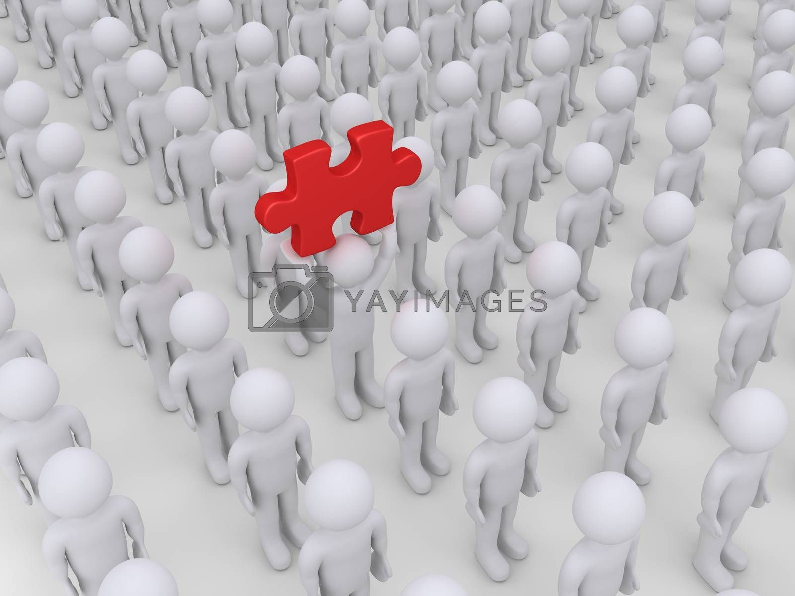 Many people in rows but one is holding high a puzzle piece