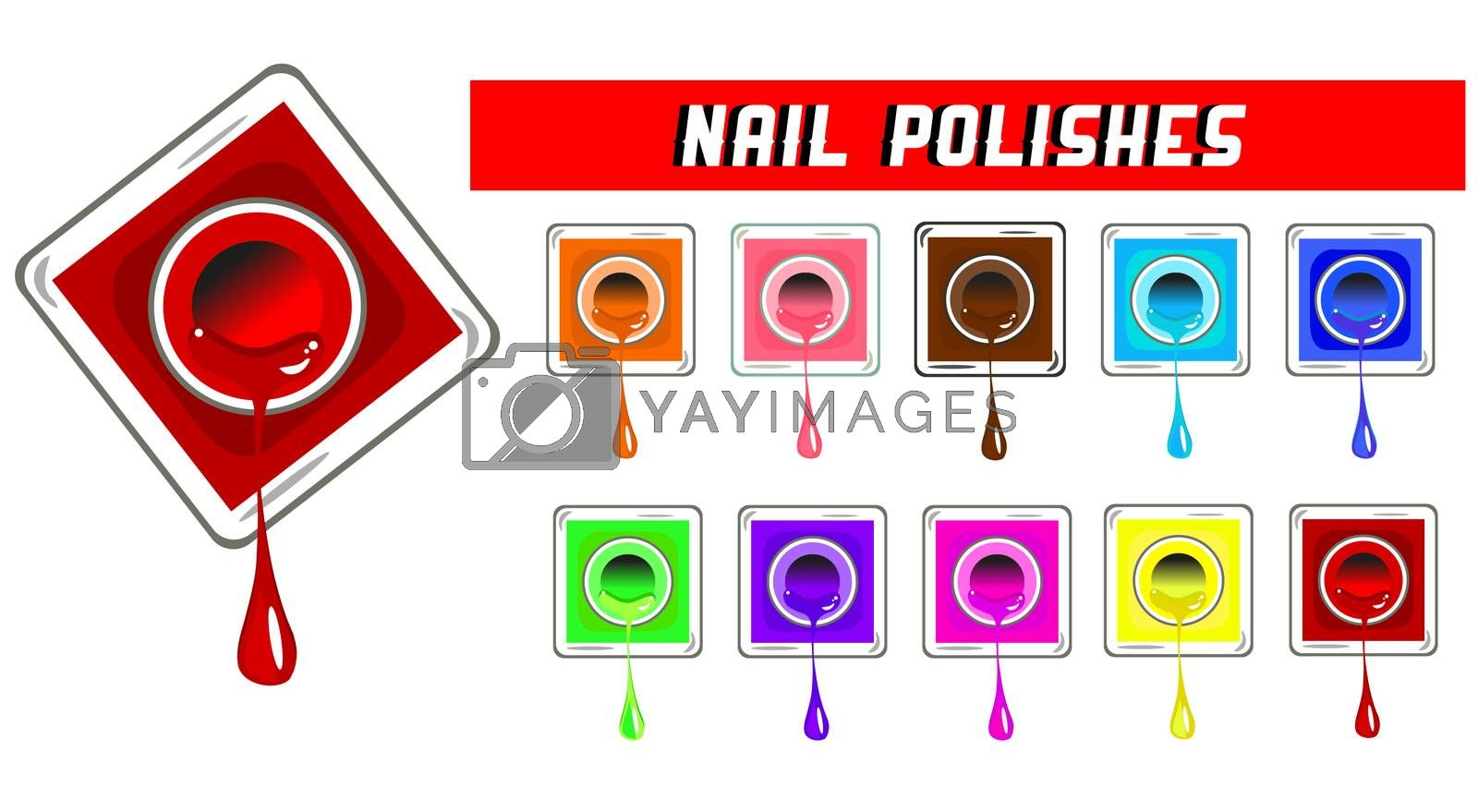 Vector Nail polishes illustration isolated on white