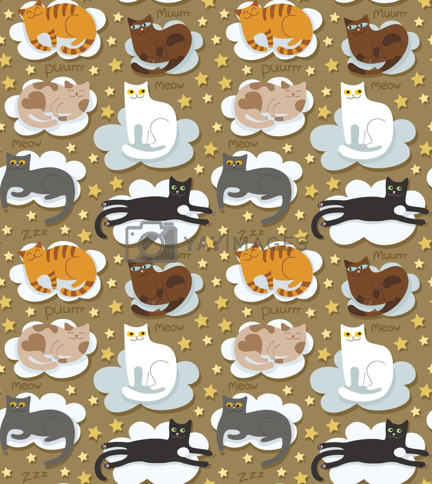 Cats seamless funny background