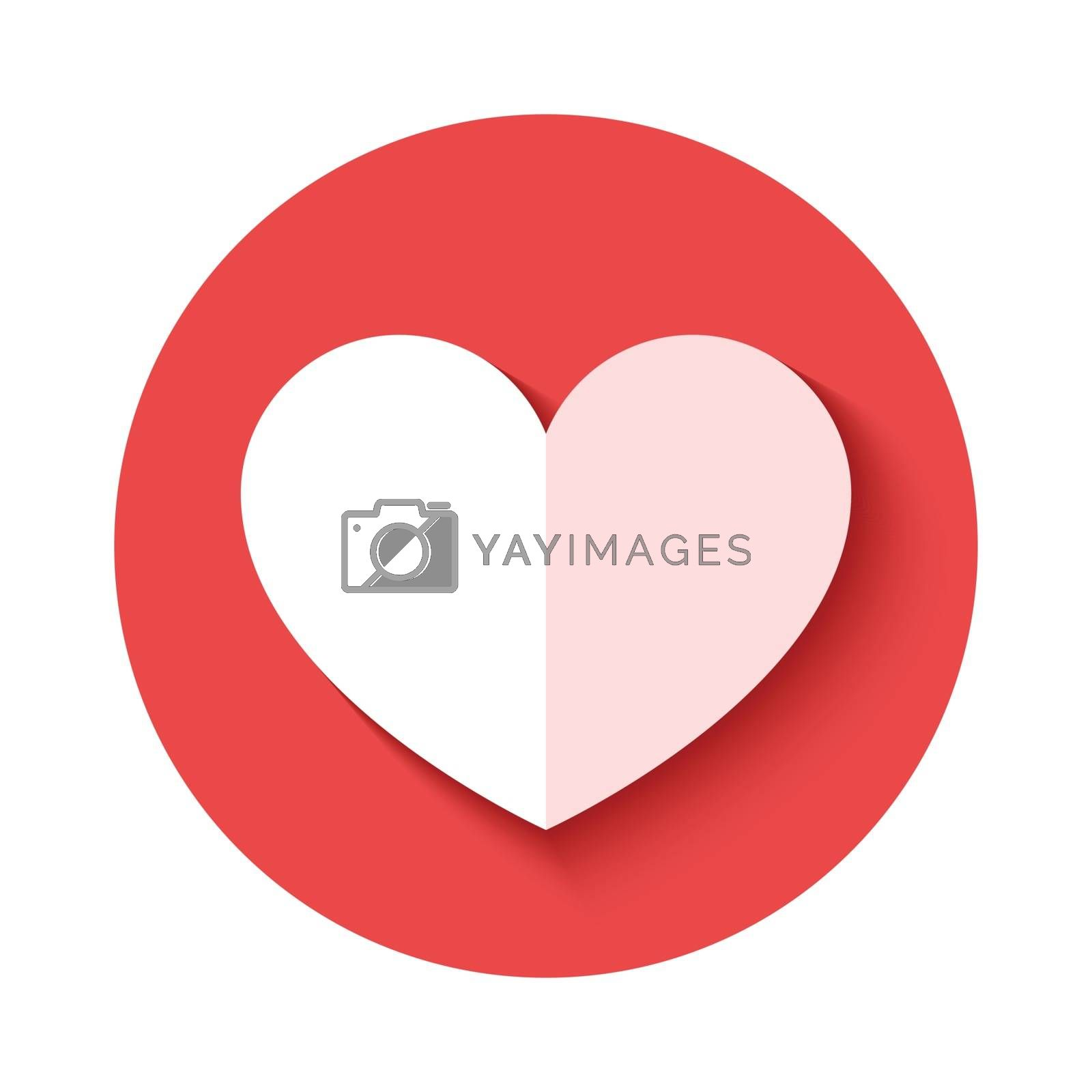 heart icon with shadow isolated on pink background