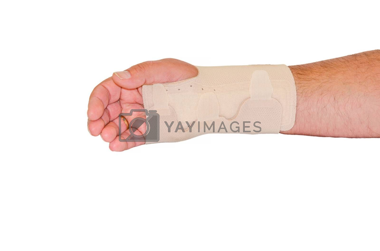 Injured male hand wrapped with Beige bandage for the wrist, isolated against white background.
