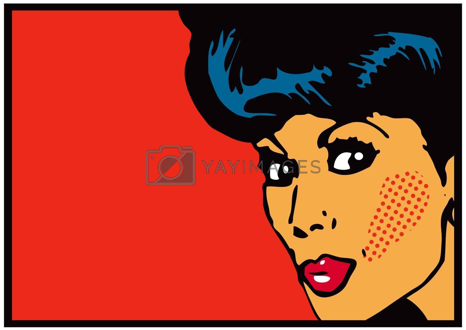Vintage Clip Art Woman Secret card Big open eyes