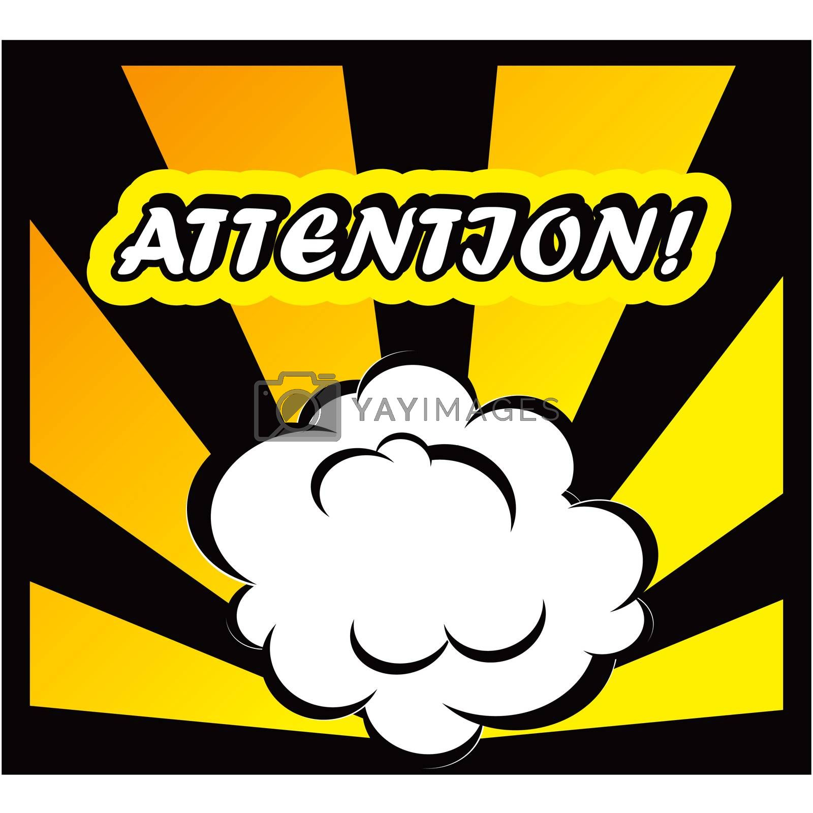 Comic book background Attantion! sign Card Pop Art office stamp with the word Attantion