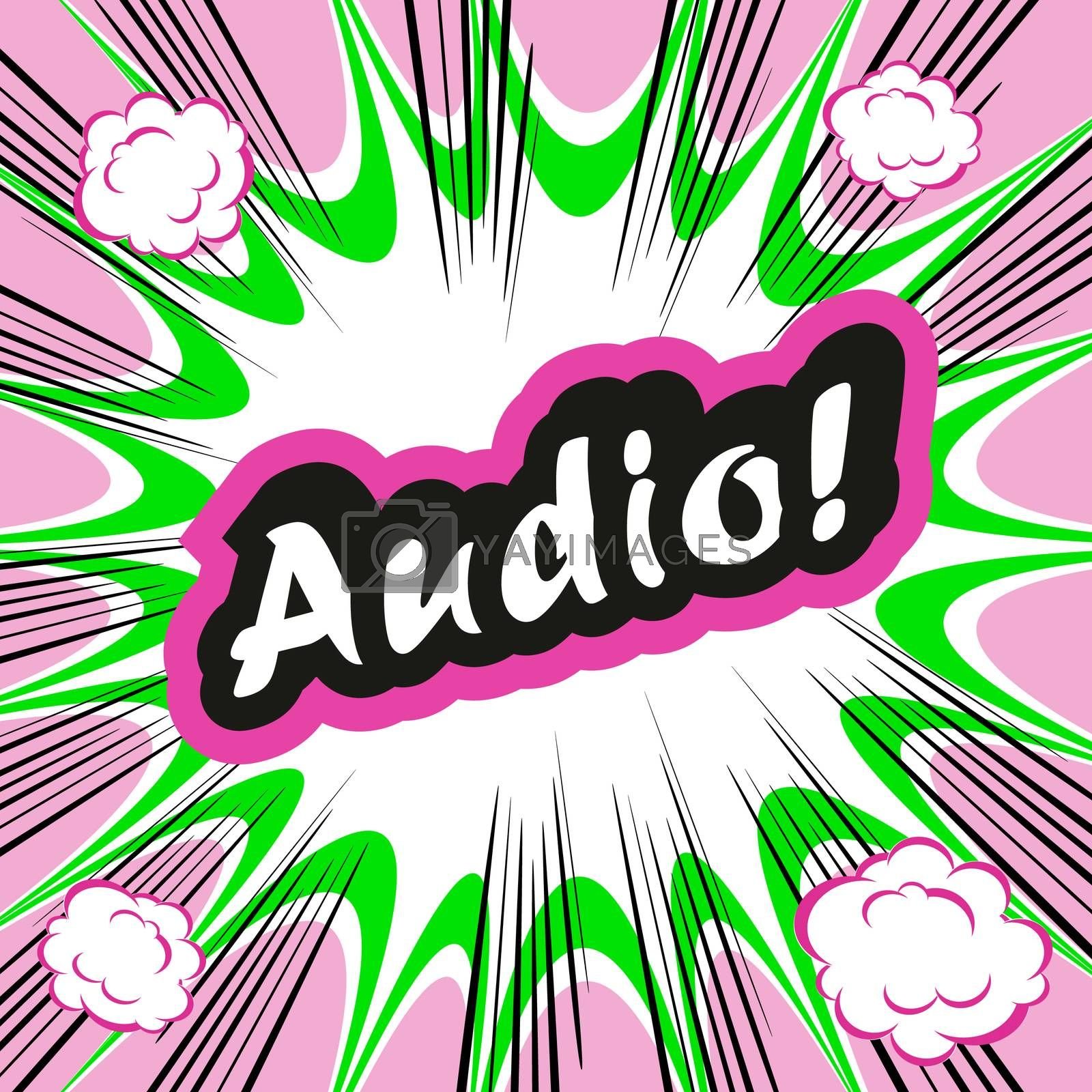 Comic book background Audio! concept or conceptual cute Audio text on pop art background for your designs or presentations