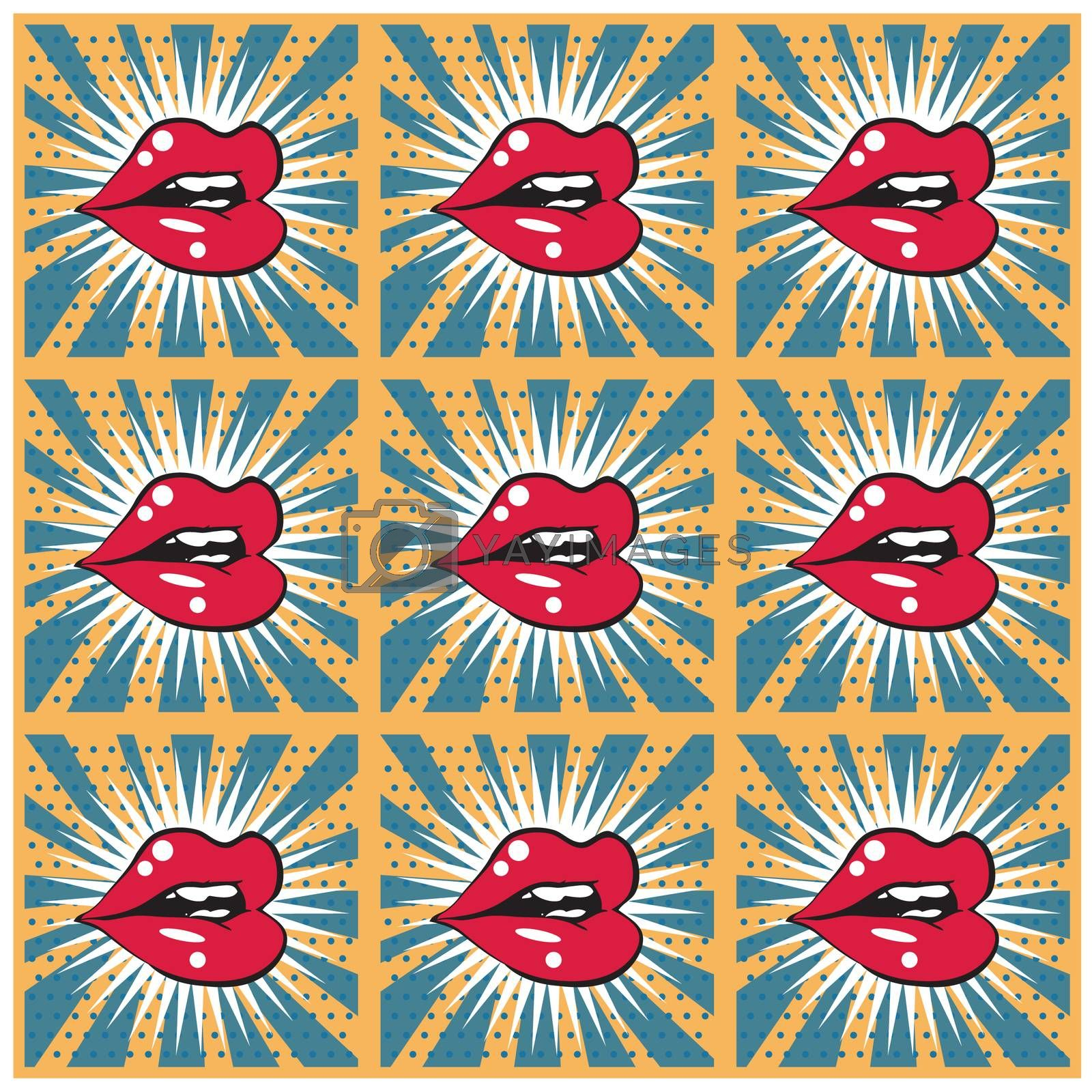 Retro background seamless lips print background