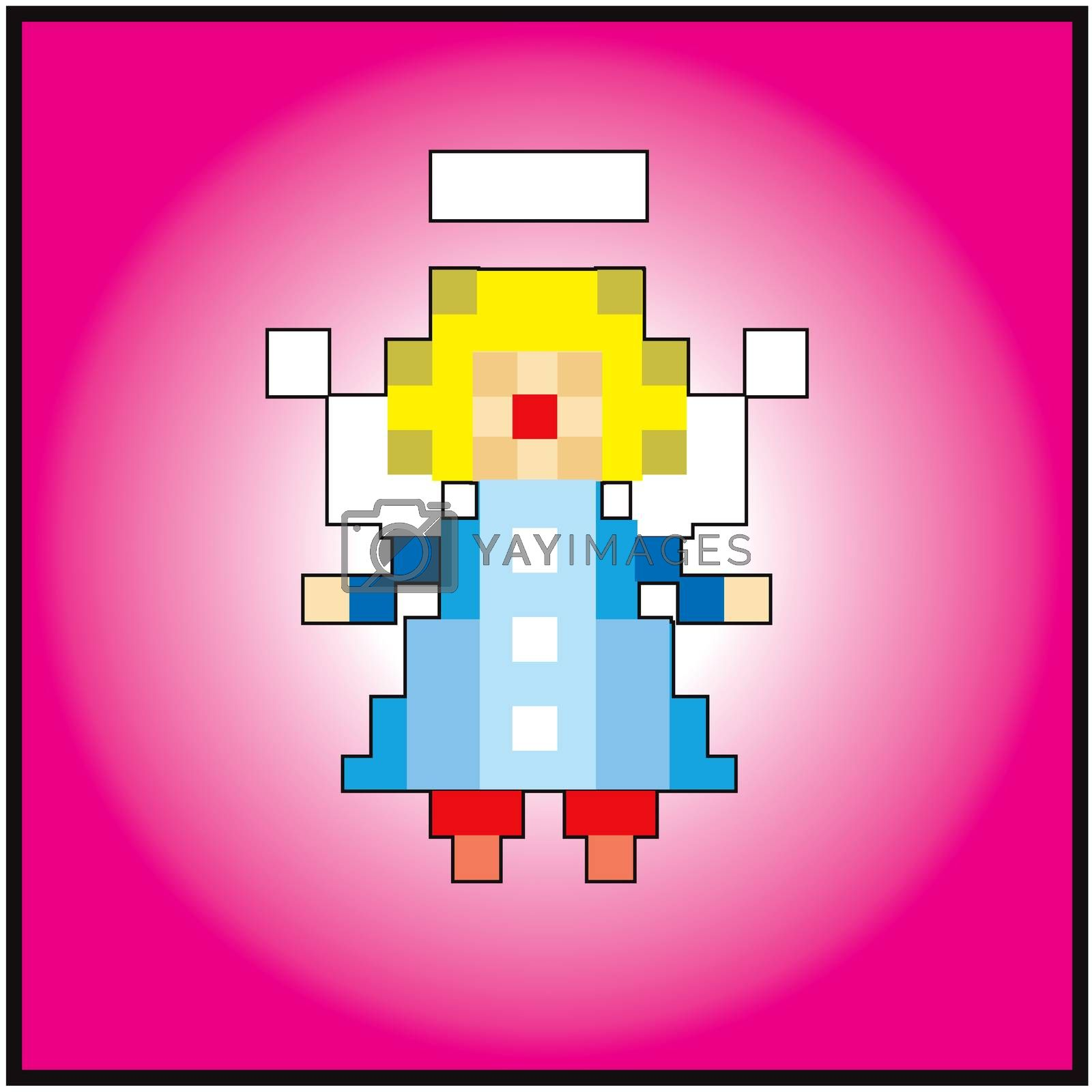 Pixel little angel greeting card