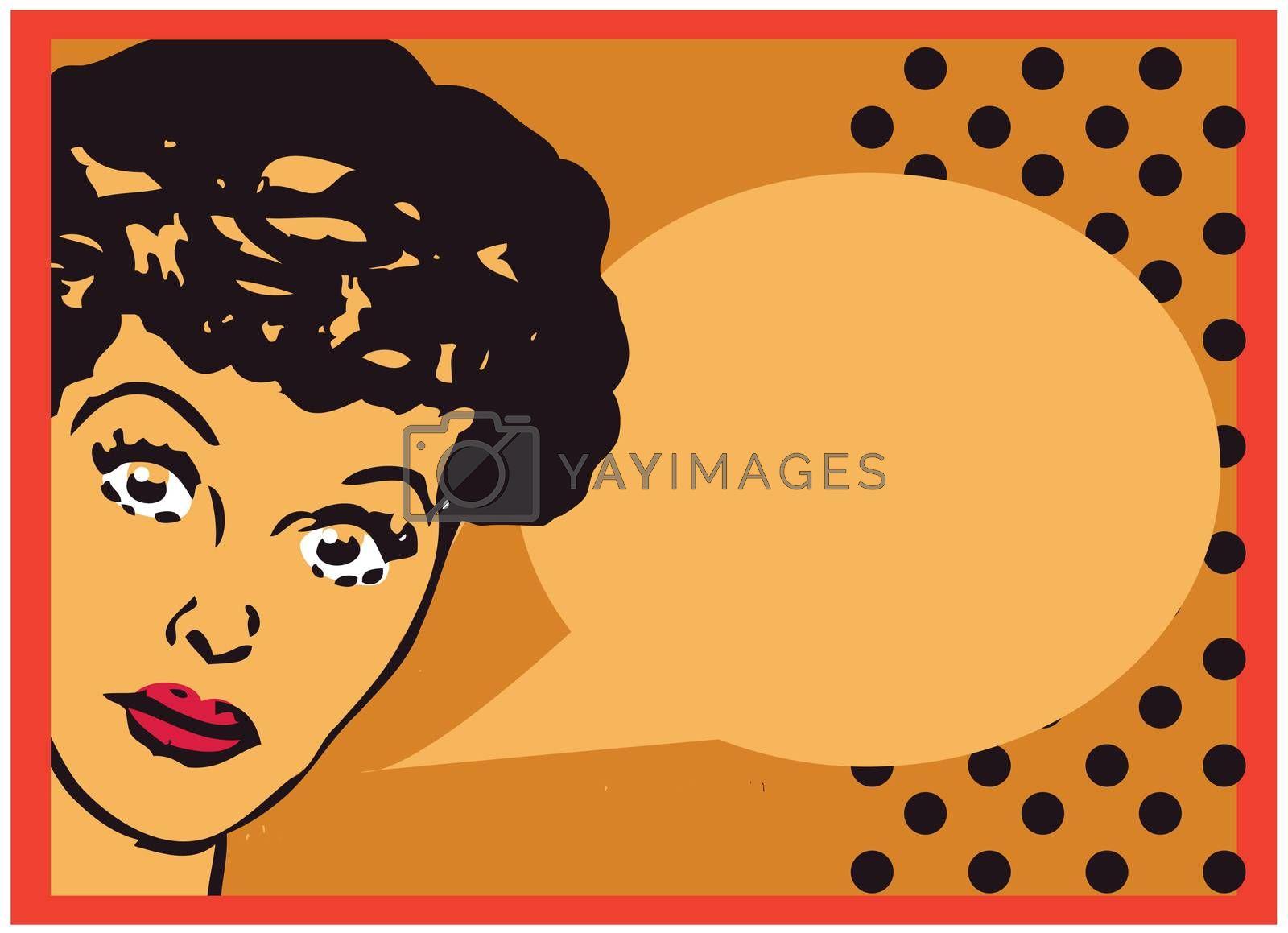 Vintage Retro Clip Art Woman Advertisement Pop Art Girl Talking with open eyes card or retro background