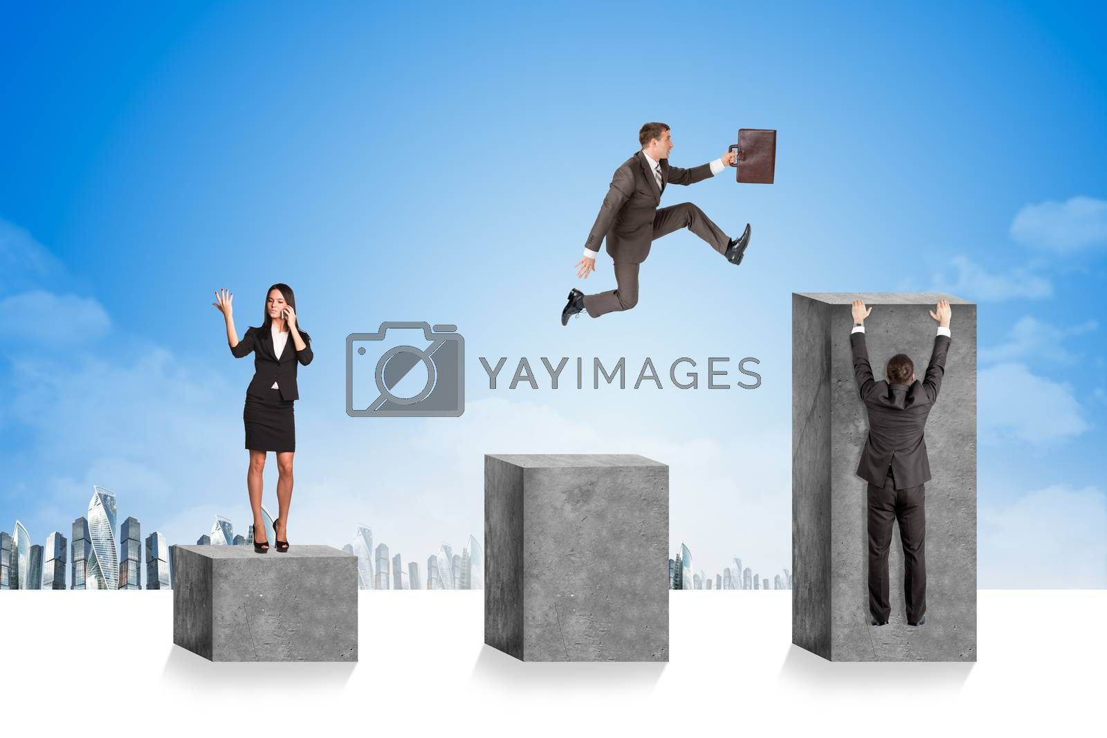 Businesspeople on square stones with cityscape background