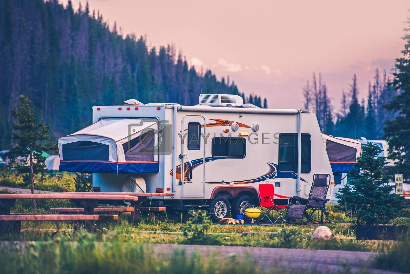 Camper Travel Trailer. Travel Trailer Pop Up Style Camping in Colorado.