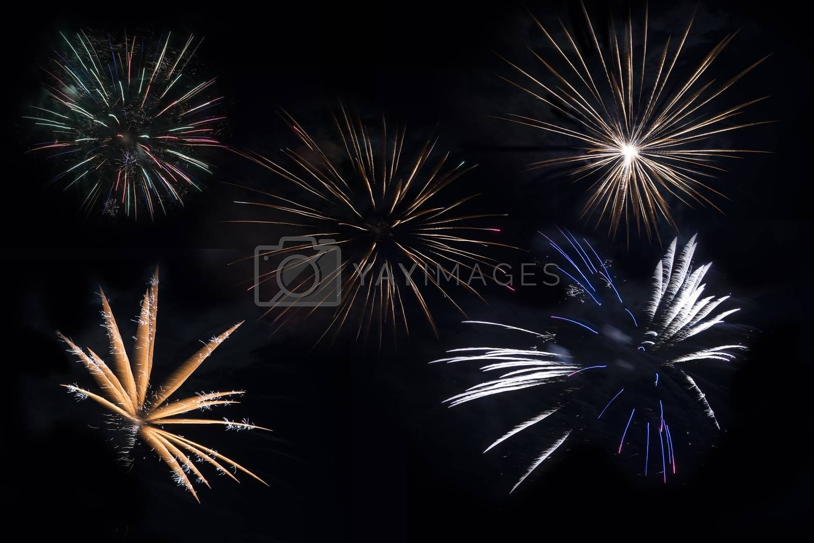 Separated Fireworks Blasts on Solid Black. Five Firework Explosions to Choose From.