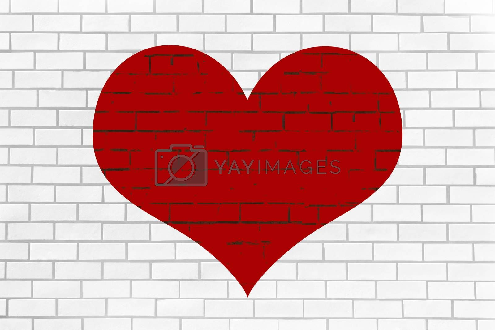 Background of red heart on white brick wall