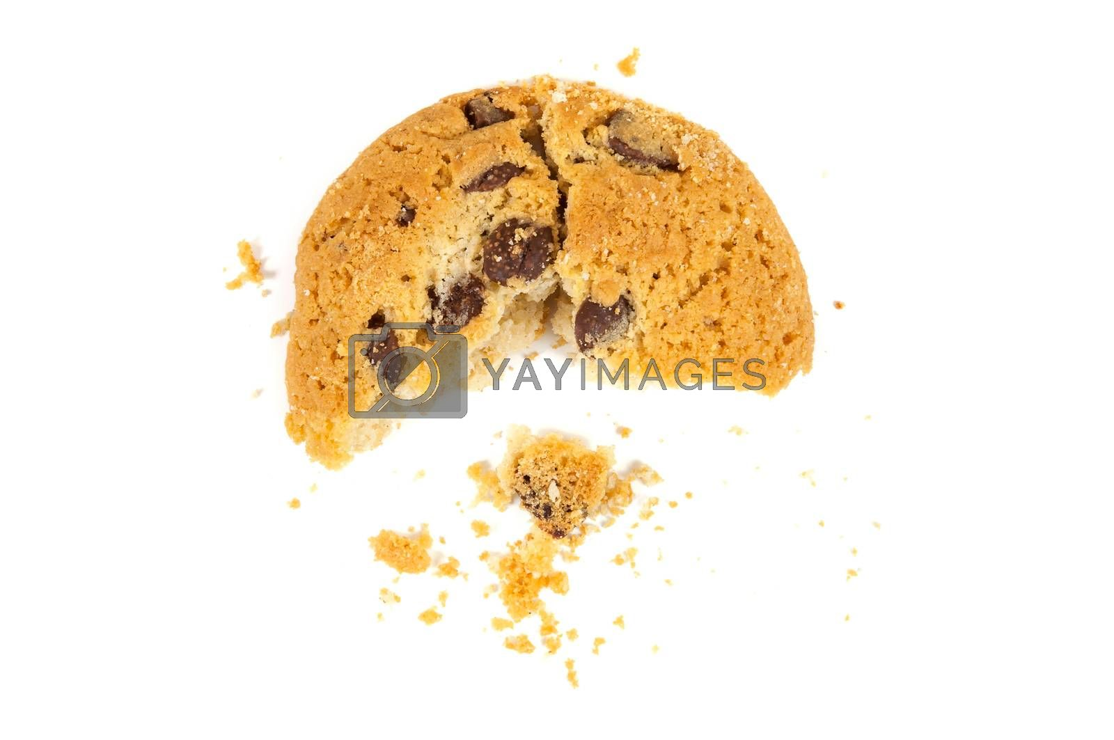Royalty free image of Half eaten chocolate chips cookie by mkos83