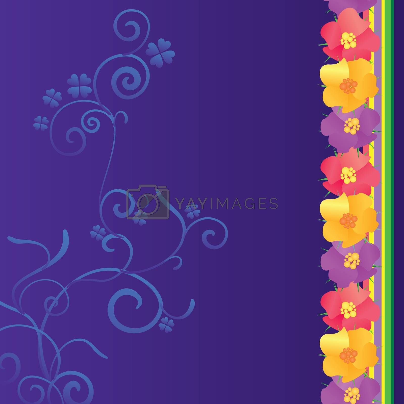 Royalty free image of violet background with flowers border by CherJu