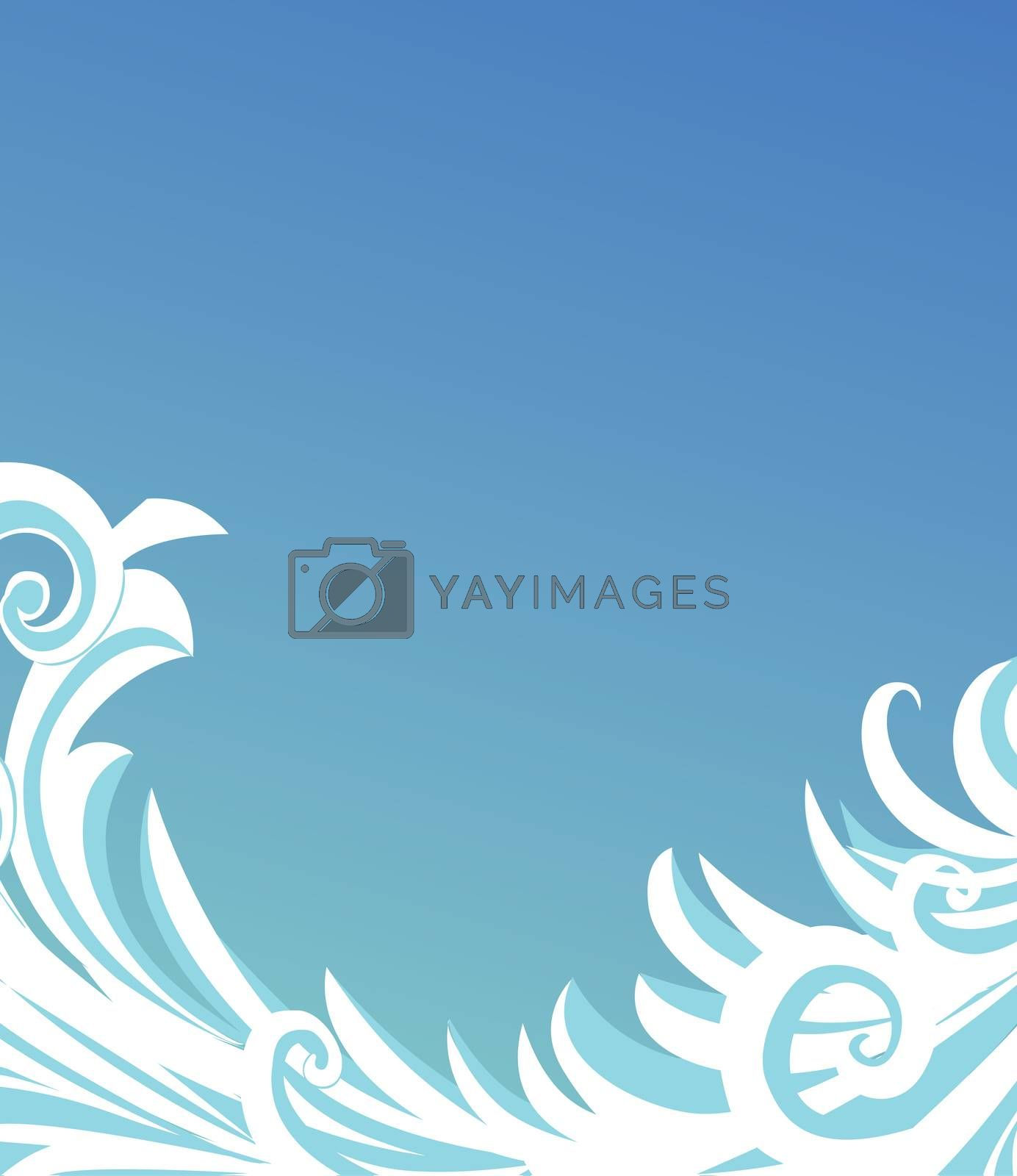 Royalty free image of abstract blue wave background by CherJu