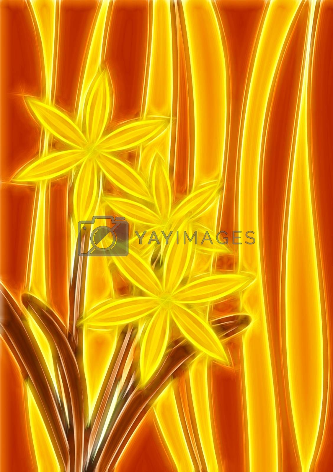 Royalty free image of yellow staines glass with flowers by CherJu