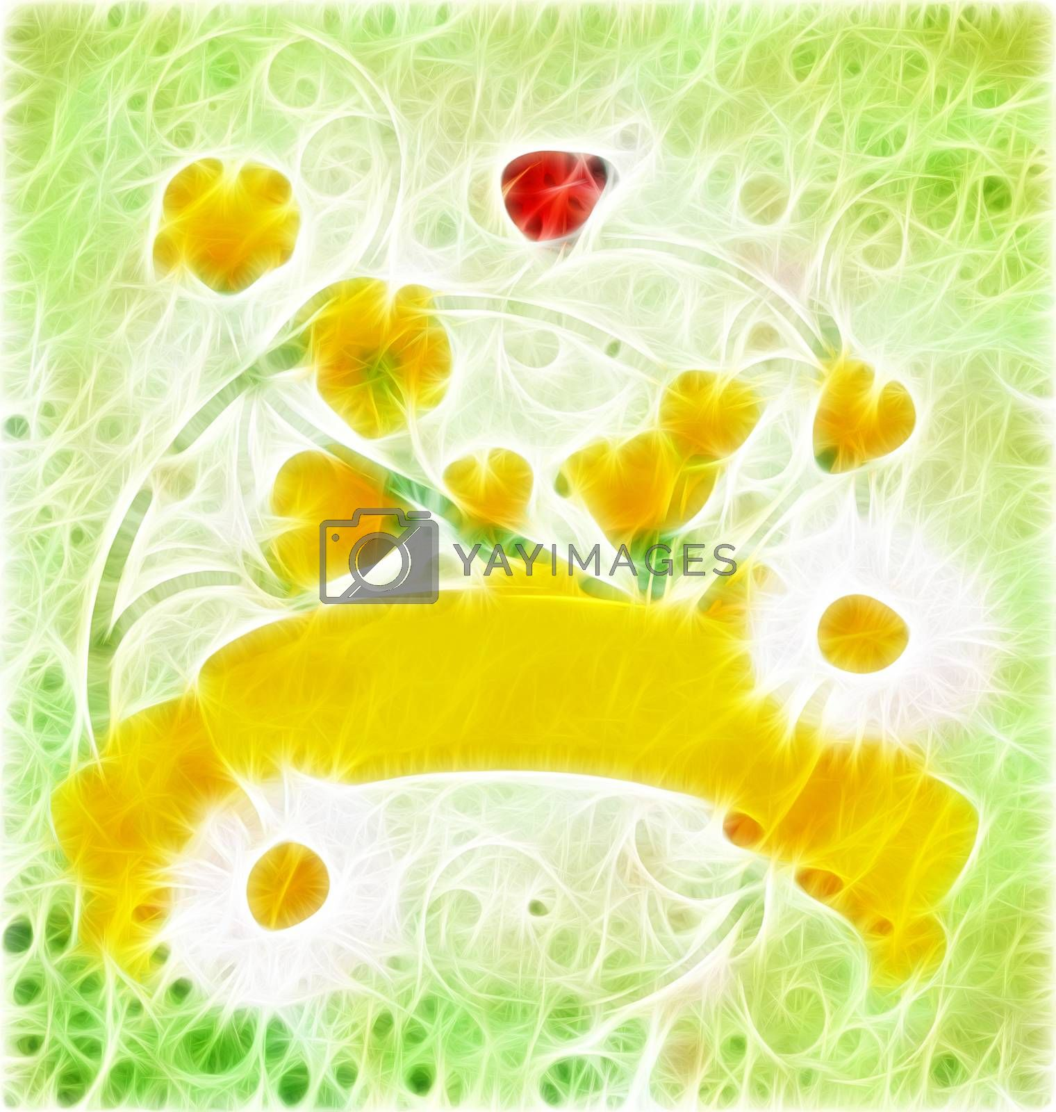 Royalty free image of yellow grunge scroll nature illustration by CherJu