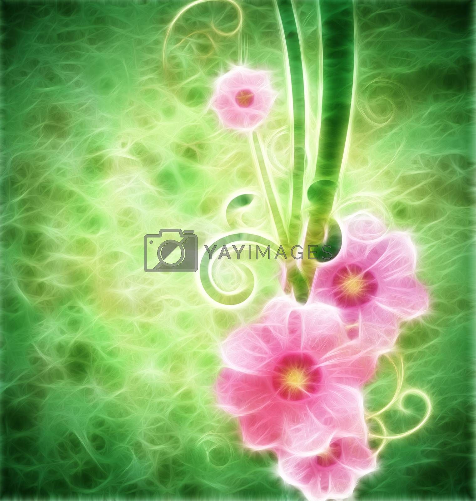 Royalty free image of grunge vintage style background with pink spring flowers and gre by CherJu