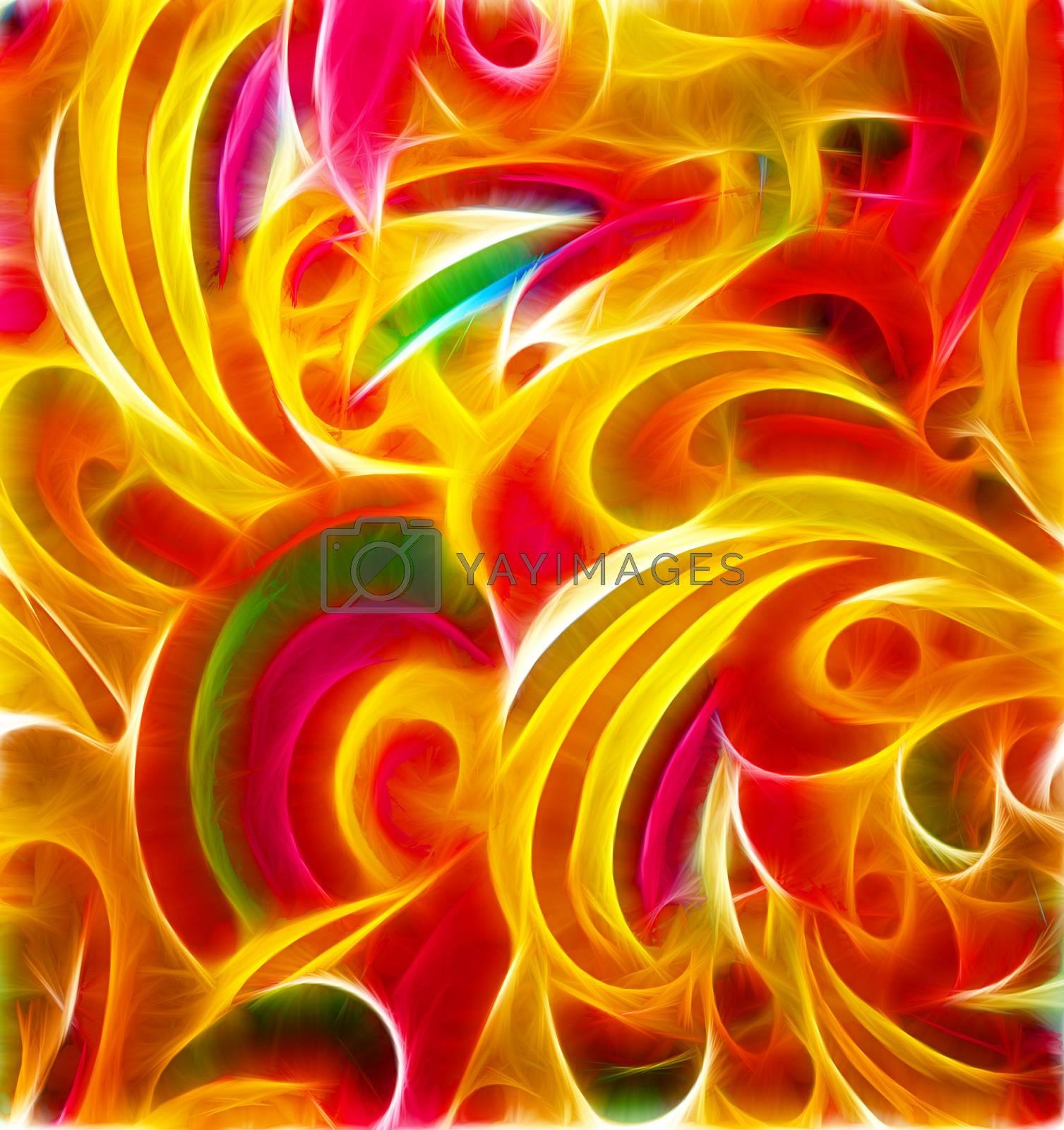 colorful floral curves vintage paper grunge background by CherJu