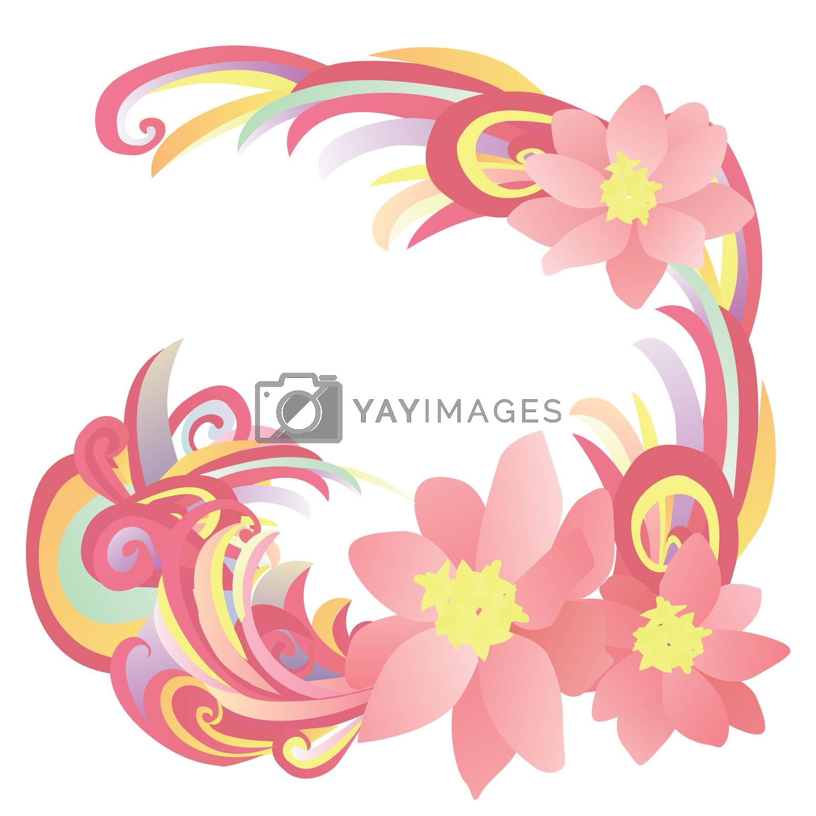 """abstract flowers pink, red and yellow illust<span id=""""transmark""""></span>ration by CherJu"""