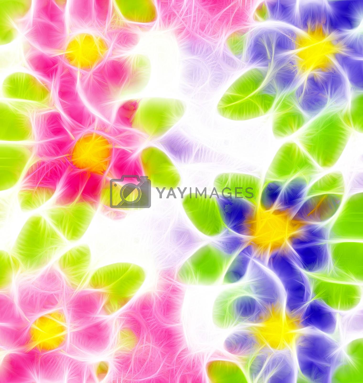 Royalty free image of pink and blue flowers illustrations by CherJu