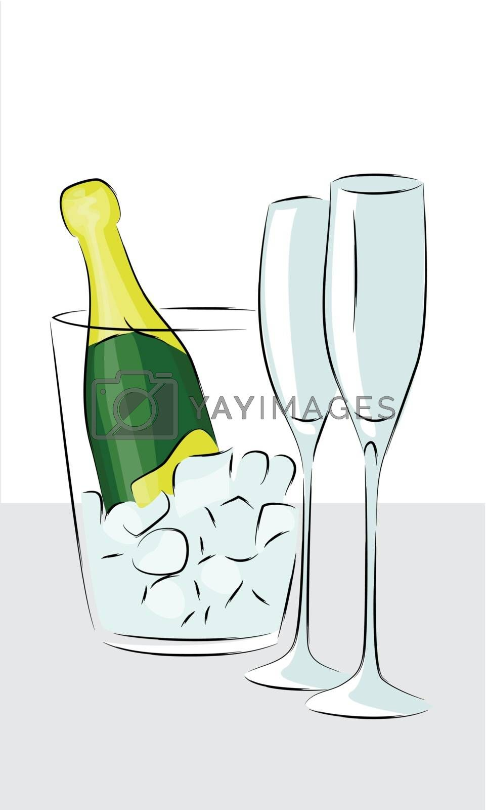 Royalty free image of bottle of champagne  by sergeevana