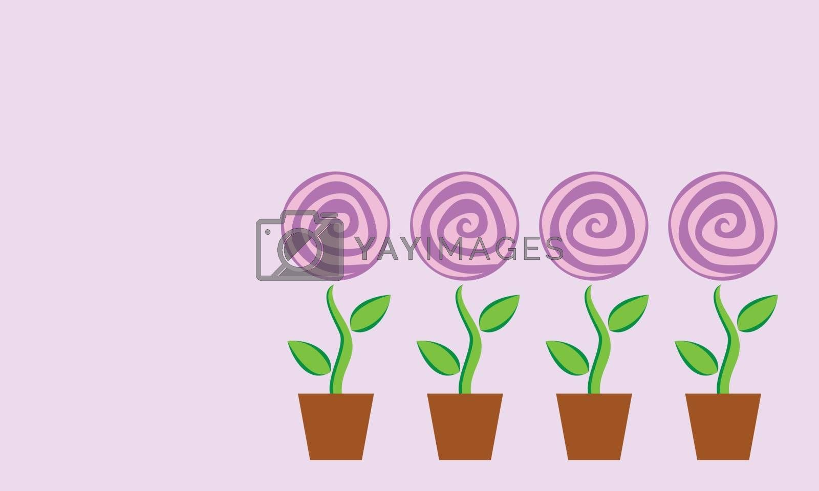 Royalty free image of Four potted flower  by sergeevana