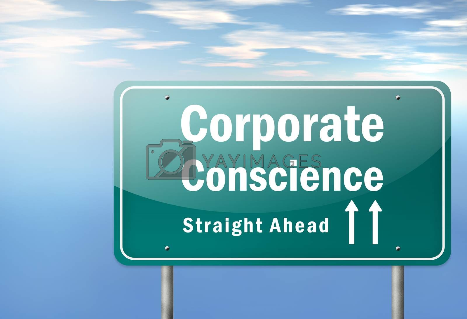 Royalty free image of Highway Signpost Corporate Conscience by mindscanner
