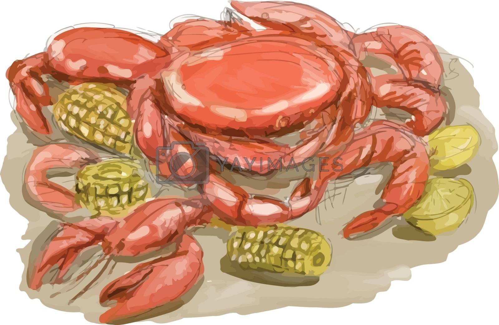 Royalty free image of Cajun Seafood Watercolor by patrimonio