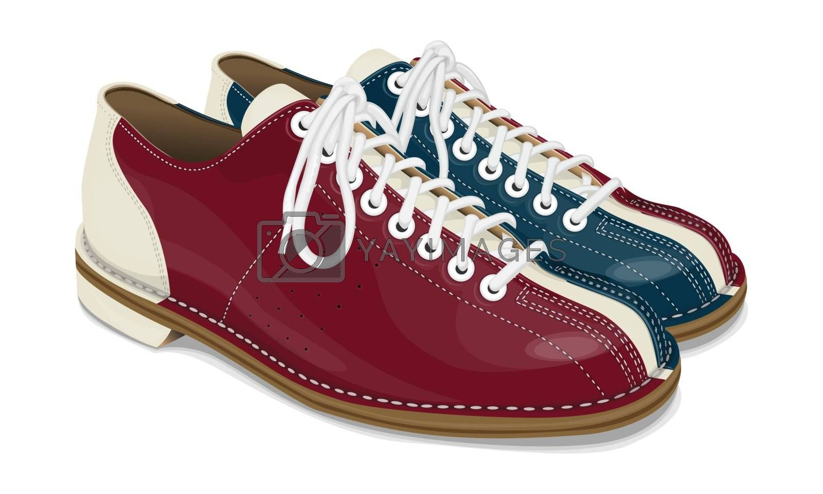 Bowling shoes red and blue by sergeevana