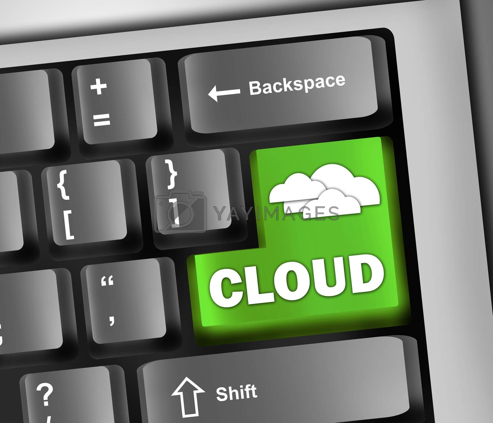 "Royalty free image of Keyboard Illustration ""Cloud Computing"" by mindscanner"
