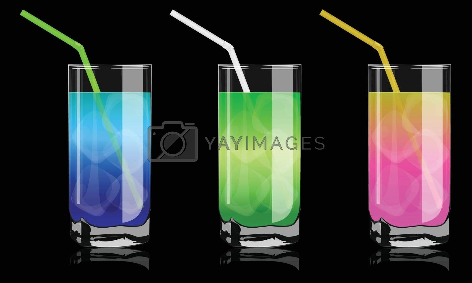 Royalty free image of colored cocktails in glass by sergeevana