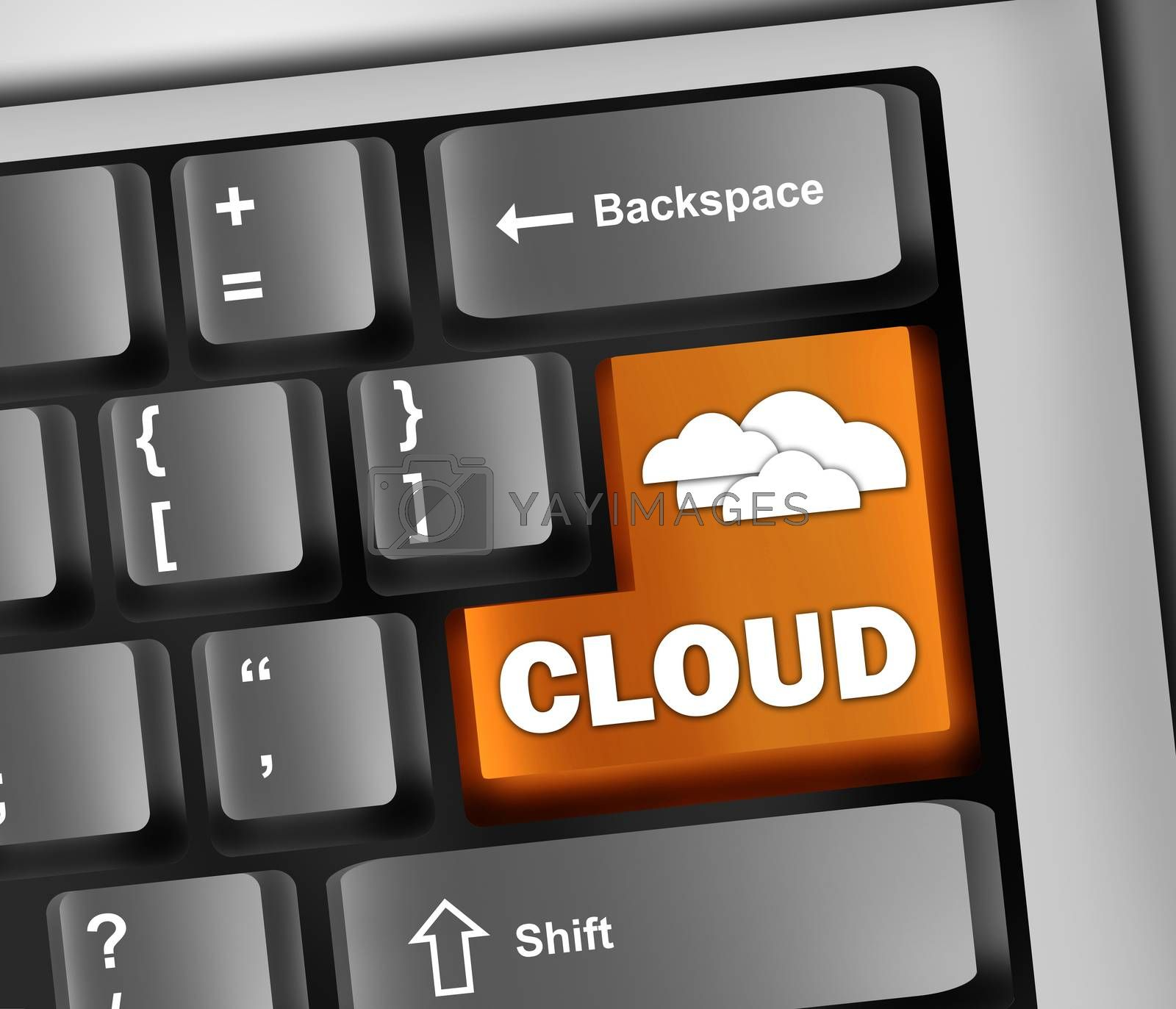"Royalty free image of Keyboard Illustration ""Cloud Computing"" by mindscanner"
