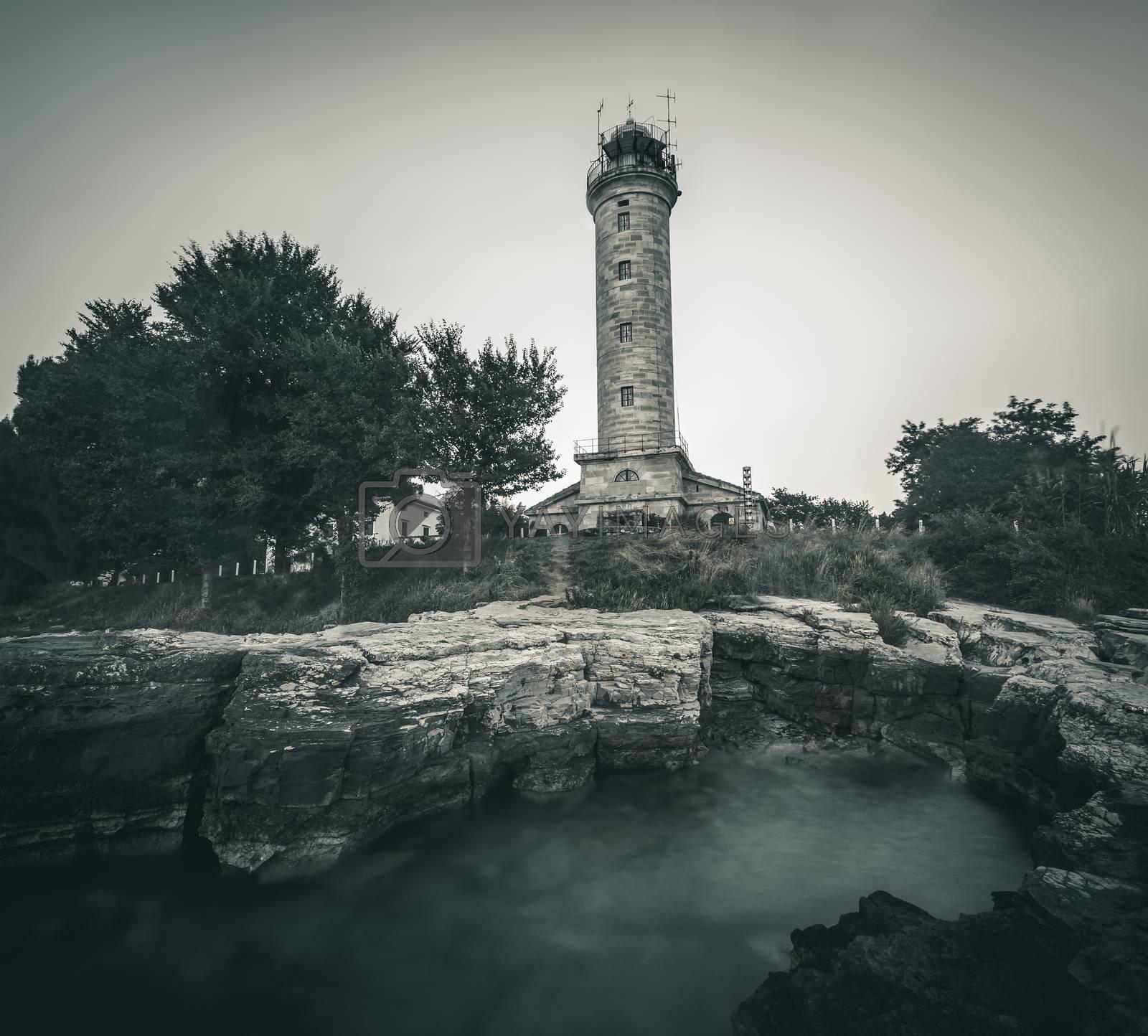 Royalty free image of Lighthouse in Savudrija, Istria, Croatia, Black and White by Kayco