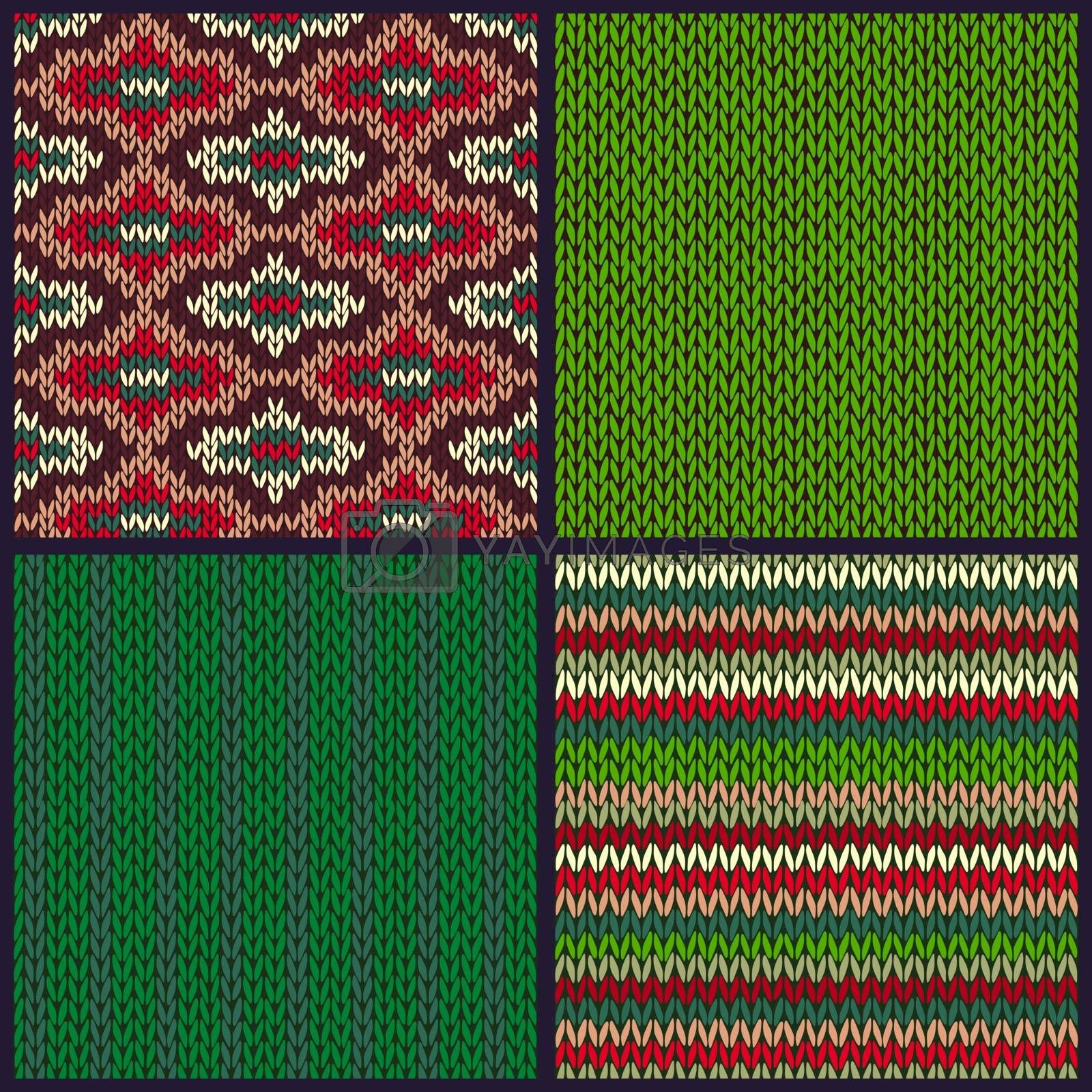 Royalty free image of Seamless Knitted Pattern. Set of Christmas Samples. Collection o by ESSL