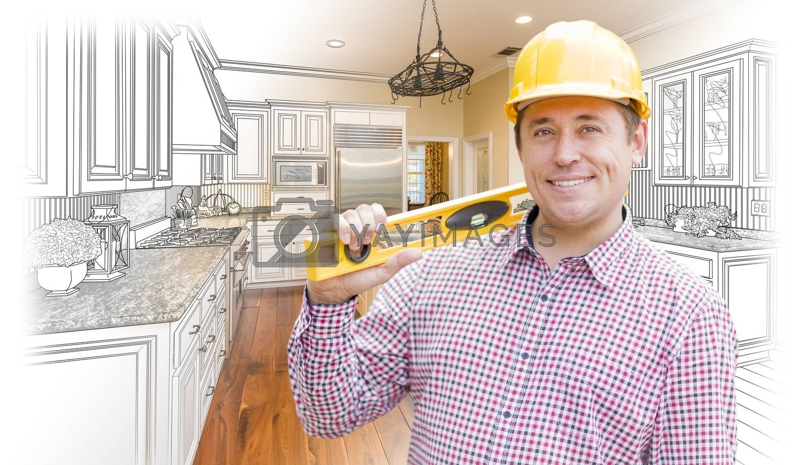 Royalty free image of Contractor in Hard Hat Over Custom Kitchen Drawing and Photo by Feverpitched